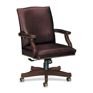 "HON Executive Leather Crest Back Chair - Wood Mahogany Frame27"" x 29.5"" x 42"" - Leather Burgundy Seat"