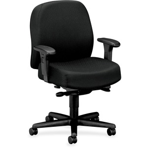 "HON Mid-back Task Chair With Adjustable Arms - 32"" x 29.5"" x 43.5"" - Nano-Tex Fabric Black Seat"