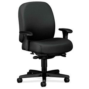 "HON Mid-back Task Chair With Adjustable Arms - 32"" x 29.5"" x 43.5"" - Nano-Tex Fabric Charcoal Gray Seat"