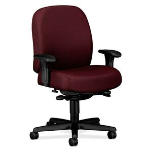 "HON Mid-back Task Chair With Adjustable Arms - 32"" x 29.5"" x 43.5"" - Nano-Tex Fabric Red Seat"