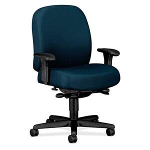 "HON Mid-back Task Chair With Adjustable Arms - 32"" x 29.5"" x 43.5"" - Nano-Tex Fabric Marine Blue Seat"