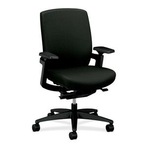 "HON F3 Ergonomic Mid-Back Work Chair - 27"" x 34"" x 42"" - Nano-Tex Fabric Black Seat"