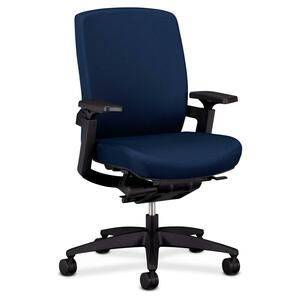 "HON F3 Ergonomic Mid-Back Work Chair - 27"" x 34"" x 42"" - Fabric Marine Blue Seat"