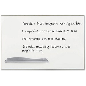 Balt Low Profile Porcelain Markerboard - 4ft x 6ft - Anodized Aluminum Frame - White