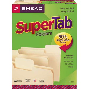 "Smead SuperTab Oversized Tab Folder - Letter - 8.5"" x 11"" - 1/3 Tab Cut on Assorted Position - 0.75"" Expansion - 100 / Box - 11pt. - Manila"