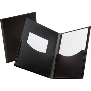 "Oxford Double Stuff Twin Pocket Folder - Letter - 8.5"" x 11"" - 200 Sheet Capacity - 1 Each - Black"