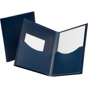 "Oxford Double Stuff Twin Pocket Folder - Letter - 8.5"" x 11"" - 200 Sheet Capacity - 1 Each - Navy"