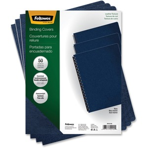 FELLOWES 50PK BINDING COVERS EXECUTIVE NAVY OVERSIZE