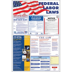 "Advantus Federal Labor Law Poster - 24"" Width x 36"" Height - Red"