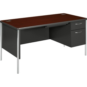 "HON Mentor Single Pedestal Desk - Rectangle - 2 Drawer - 30"" x 60"" x 29.5"" - Steel, Vinyl - Gray Interior, Mahogany Top"