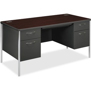 "HON Mentor Series Double Desk With Pedestal - 60"" Width x 30"" Depth x 29.5"" Height - Single Pedestal on Right Side - Rounded Edge - Steel - Mahogany Top"