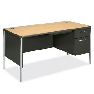 "HON Mentor Single Pedestal Desk - Rectangle - 2 Drawer - 30"" x 60"" x 29.5"" - Vinyl, Steel - Gray Interior"