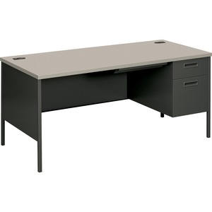 "HON Metro Classic P3265RG2S Right Pedestal Desk - 66"" Width x 30"" Depth x 29.5"" Height - Single Pedestal on Right Side - Steel - Charcoal Gray"