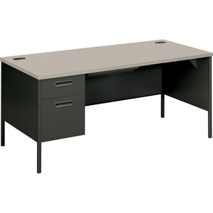 "HON Metro Classic P3266LG2S Left Pedestal Desk - 66"" Width x 30"" Depth x 29.5"" Height - Single Pedestal on Left Side - Steel - Charcoal Gray"