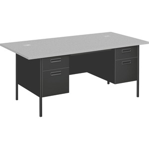 "HON Metro Classic Double Pedestal Desk With Overhang - Rectangle - 2 Box, 2 Drawer - 36"" x 72"" x 29.5"" - Steel - Charcoal Gray Drawer"