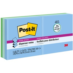 "Post-it Super Sticky Pop-up Note - Self-adhesive, Pop-up - 3"" x 3"" - Aqua Wave, Neptune Blue, Orchid - Paper - 6 / Pack"
