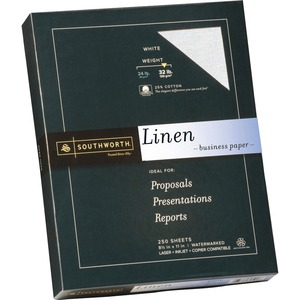 "Southworth Linen Business Paper - Letter - 8.5"" x 11"" - 32lb - Linen, Textured - 250 / Box - White"