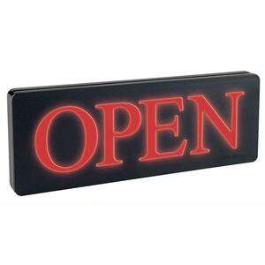 "U.S. Stamp & Sign Lighted Open Sign - ""Open"" Preset - 13.25"" x 6"" - Black"