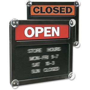 "U.S. Stamp & Sign Open/Closed Letter Board - ""Open/Closed"" Preprinted - 15"" x 13"" - Black, Red, Assorted"