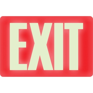 "U.S. Stamp & Sign Glow in the Dark EXIT Sign - ""Exit"" Preprinted - 12"" x 8"" - Red"