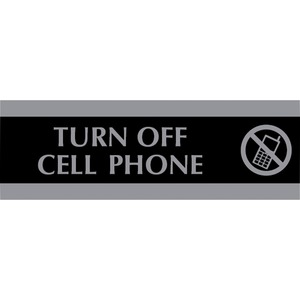 "U.S. Stamp & Sign Century Turn Off Cell Phone Sign - ""Turn Off Cell Phone"" Preprinted - 9"" x 3"" - Black"
