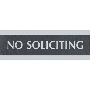 "U.S. Stamp & Sign Century No Soliciting Sign - ""No Soliciting"" Preprinted - 9"" x 3"" - Black"