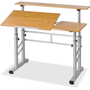 "Safco Height Adjustable Split Level Drafting Table - Rectangle47"" x 37"" - Steel - Medium Oak Top"