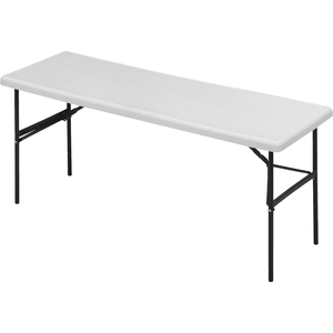 "Iceberg IndestrucTable TOO Folding Table - 24"" x 72"" x 29"" - Polyethylene, Steel - Platinum Top, Gray Leg"