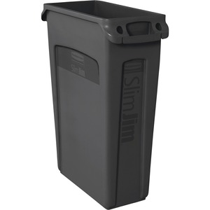 Rubbermaid 354060 Slim Jim Waste Container with Venting channel RCP354060BK