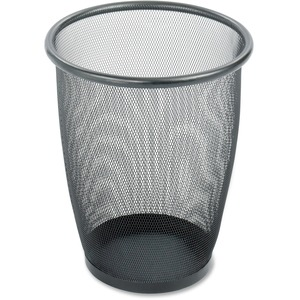 "Safco 9717 Round Mesh Wastebasket - 5gal Capacity - Round - 13"" Opening Diameter - 14.5"" Height - Steel - Black"