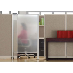 Acco Brands Corporation Quartet® Workstation Privacy Screen, 38 X 64, Rolling, Full Length - 38 Width X 64 Height - Aluminum Frame - Clear