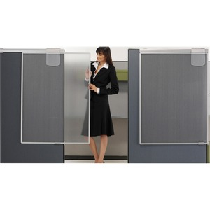 "Quartet Lightweight Workstation Privacy Screen - 36"" Width x 1.25"" Depth x 48"" Height - Silver - Plastic"