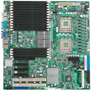 Supermicro X7DWN+ Intel® 5400P (Seaburg) Chipset Quad & Dual Core Intel® 64-bit Xeon® Support, 667/1066/1333MHz FSB Up to 32GB DDR2 800/667/533Mhz SDRAM Fully Buffered DIMM (FB-DIMM) Intel 82575EB Dual-port Gigabit Ethernet ATI ES1000 Graphics with 32MB Video Memory