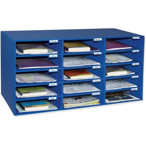 Pacon Classroom Keepers Classroom Mailbox - 15 Compartment(s) - Cardboard - Blue