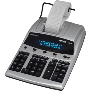 "Victor AntiMicrobial Commercial Printing Calculator - 12 Character(s) - Fluorescent - Power Adapter, AC Supply Powered - 3.25"" x 9"" x 12.75"" - Silver, Black"