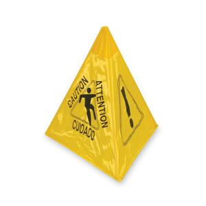 "Continental Multilingual Tri-Cone Caution Sign - ""Caution"" Preprinted - 17.5"" x 20"" - Yellow, Black"