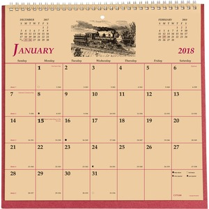 Brownline Monthly Wall Calendar REDC171100