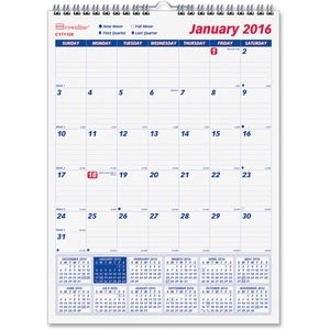 Brownline Monthly Wall Calendar REDC171105