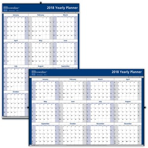 Brownline Laminated Yearly Wall Calendar REDC177368