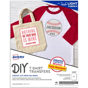 "Avery Stretchable Fabric Iron-on Transfer - Letter - 8.5"" x 11"" - Matte - 5 / Pack"