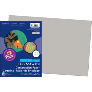 "SunWorks Groundwood Construction Paper - 18"" x 12"" - Gray"