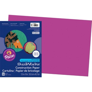 "SunWorks Groundwood Construction Paper - 18"" x 12"" - Magenta"