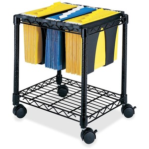 "Safco Wire File Cart - 4 - Steel - 14.5"" x 17.75"" x 19.5"" - Black"