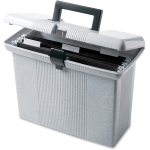 "Oxford Portafile Portable Hanging File Box - Letter - Internal Dimension 10.87"" Height x 14"" Width x 6.37"" Depth x - Plastic - Granite"