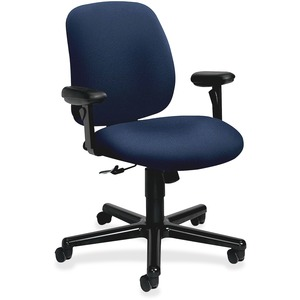 HON 7754 Task Chair - Aluminum Black Frame - Foam Blue Seat