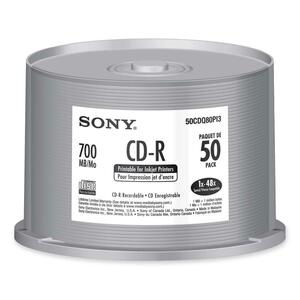 Sony CD Recordable Media - CD-R - 48x - 700 MB - 50 Pack Spindle SON50CDQ80PI3
