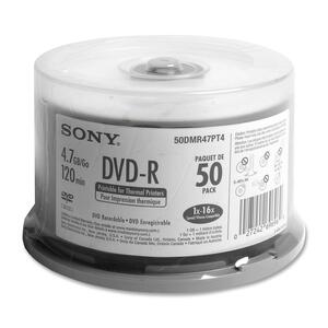 Sony DVD Recordable Media - DVD-R - 16x - 4.70 GB - 50 Pack Spindle SON50DMR47PT4