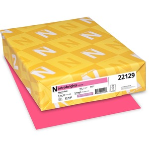 "Astro Astrobrights Colored Card Stock - Letter - 8.5"" x 11"" - 65lb - Smooth - 250 / Pack - Plasma Pink"