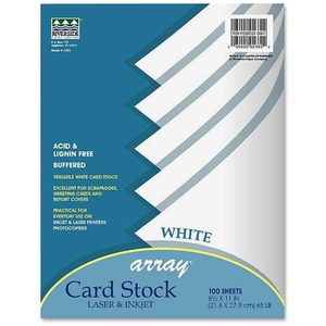 "Pacon Array Classic Card Stock - Letter - 8.5"" x 11"" - 65lb - 100 / Pack - White"
