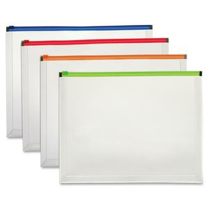 "Globe-Weis Zippered Poly Envelope - Letter - 8.5"" x 11"" - 1"" Capacity - 1 Each - Assorted"